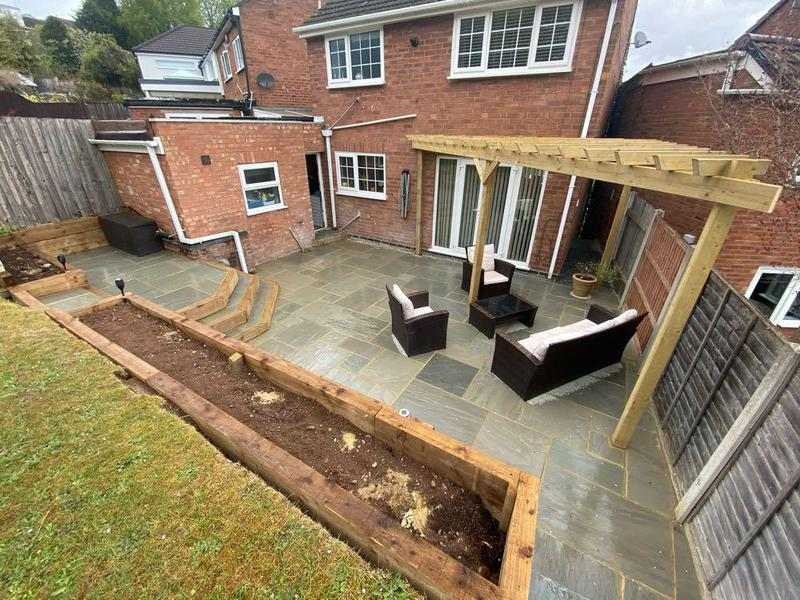 Image 15 - Our Sandstone Patio Installment With New Pagola & Sleeper walls