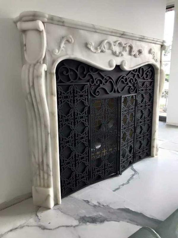 Image 17 - Hand carved natural stone mantel with laser cut insert fully custom designed and fitted professionally