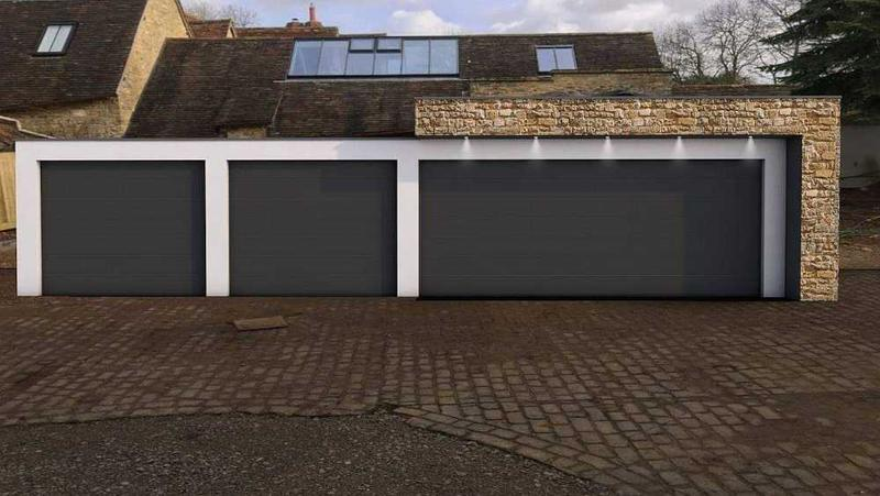 Image 12 - A large garage design for a customer in line with house design. Stone cladding and white acrylic render used.