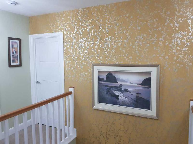 Image 76 - LHS of staircase papered and painted