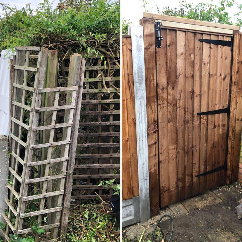 Image 32 - Gate with slide bolt lock. Before & After