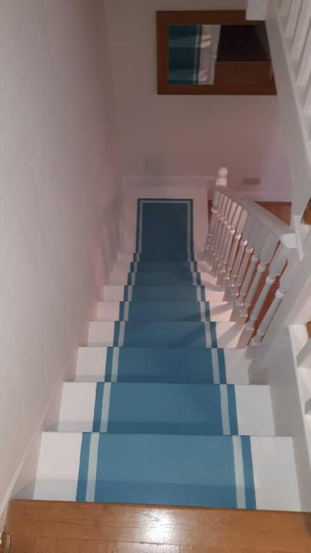 Image 2 - painted staircase, client wanted it to look like runners on the stairs. He was extremely happy with the outcome and work we did.