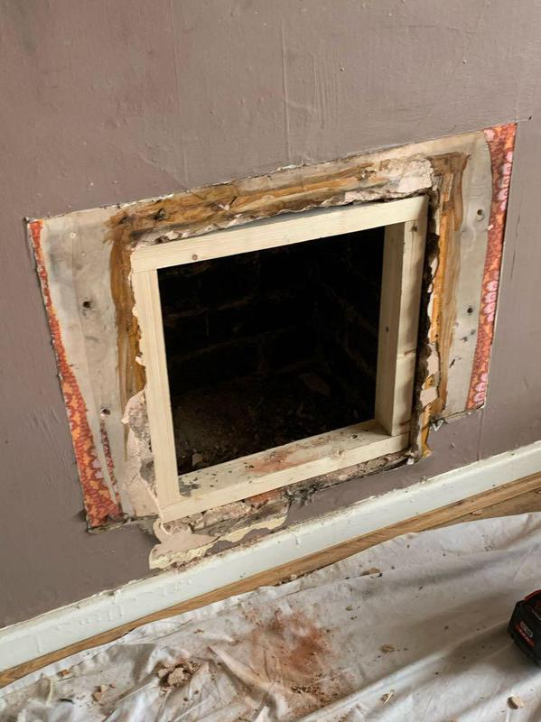 Image 44 - Wooden frame work inset in chimney opening