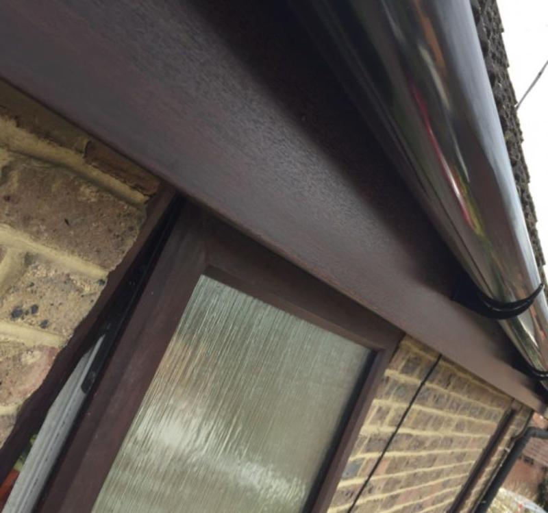 Image 4 - UPVC Brown Wood Effect Fascia's & Soffit's Installed Finished Off With New Guttering