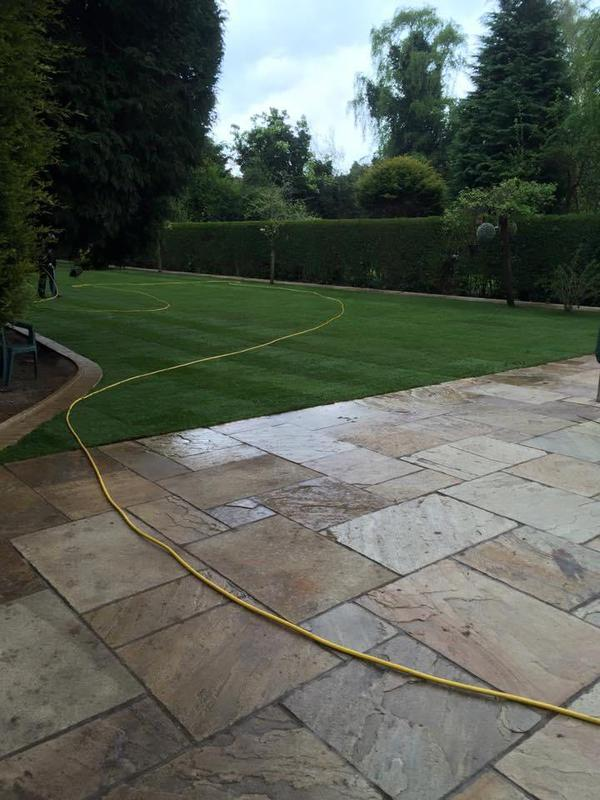 Image 116 - indian sandstone patio & turf Garden lawn in shirley