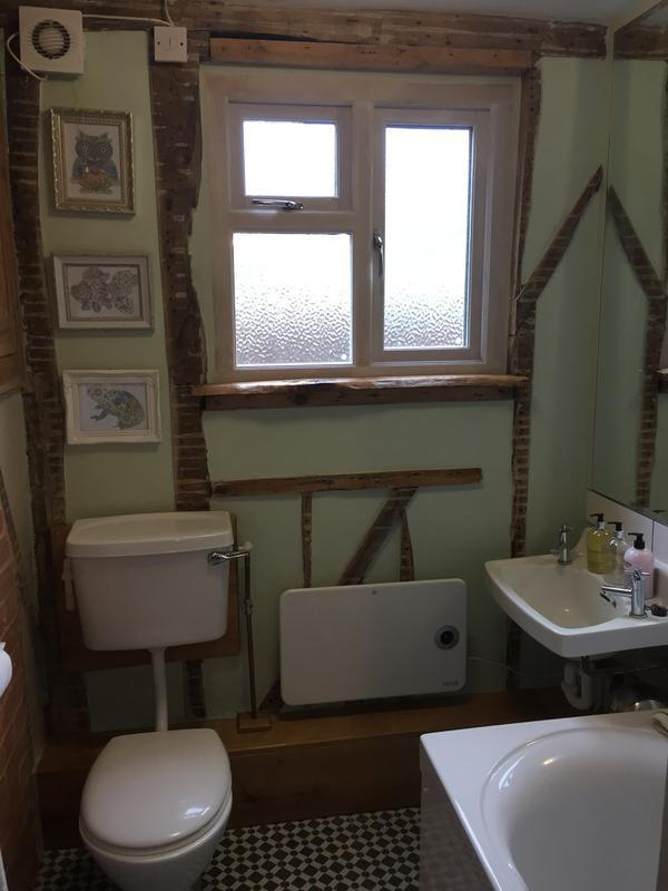 Image 28 - Downstairs bathroom finish plastered and decorated over upgraded insulation (75mm celotex between external studs with 20mm air gap) by DKM Developments Ltd builders Great Dunmow Essex