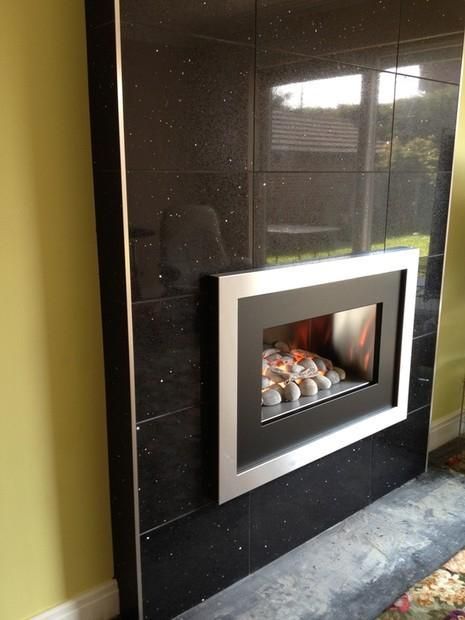Image 5 - Quartz Tiled Chimney,complete with New Inset Living Flame Gas Fire
