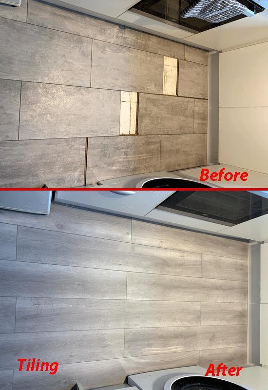 Image 6 - Tiling kitchen floor.