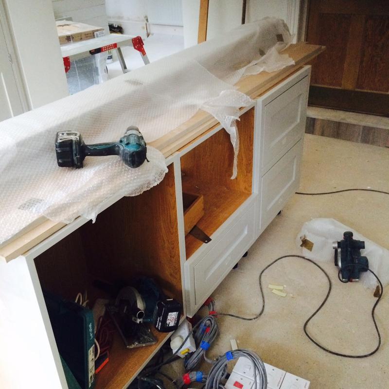 Image 36 - Bespoke English kitchen stage 4 (setting up the middle island units).