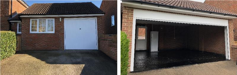 Image 6 - This garage space was covered into an additional living space and then decommissioned into a standard garage with roller shutter for two vehicles.