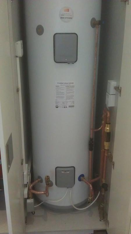 Image 23 - New Unvented hot water cylinder fitted in cupboard