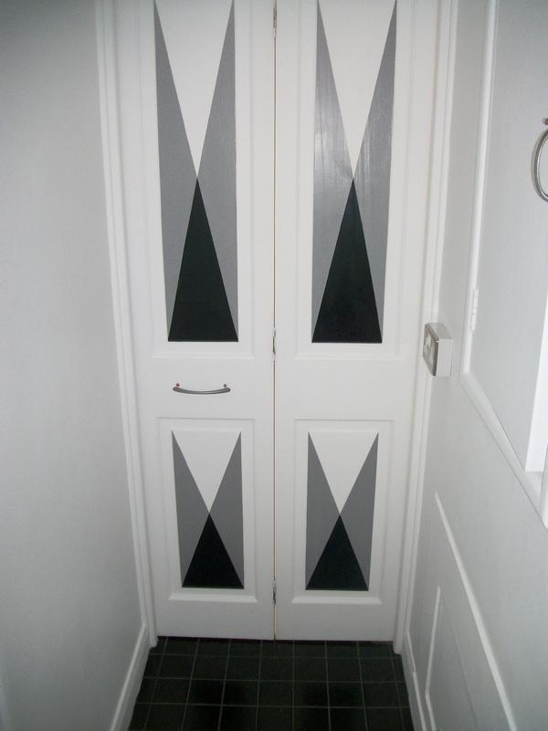 Image 15 - Doors Painted with grey and black pattern.