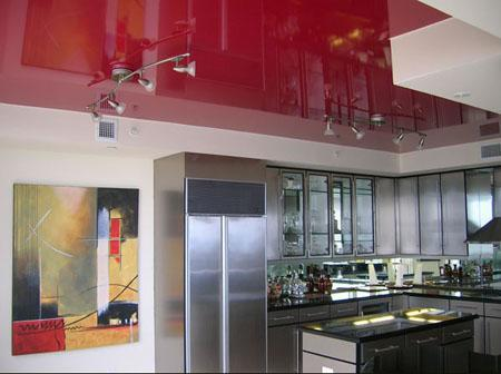 Image 50 - kitchen with gloss stretch ceiling