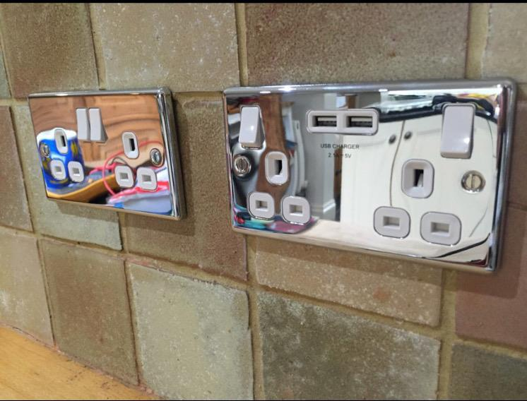 Image 11 - Installation of chrome usb sockets , Manchester electrician
