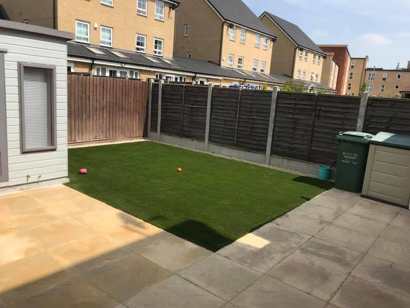 Image 20 - Slabbed patio area extended and artificial grass installed to suit the customers needs.