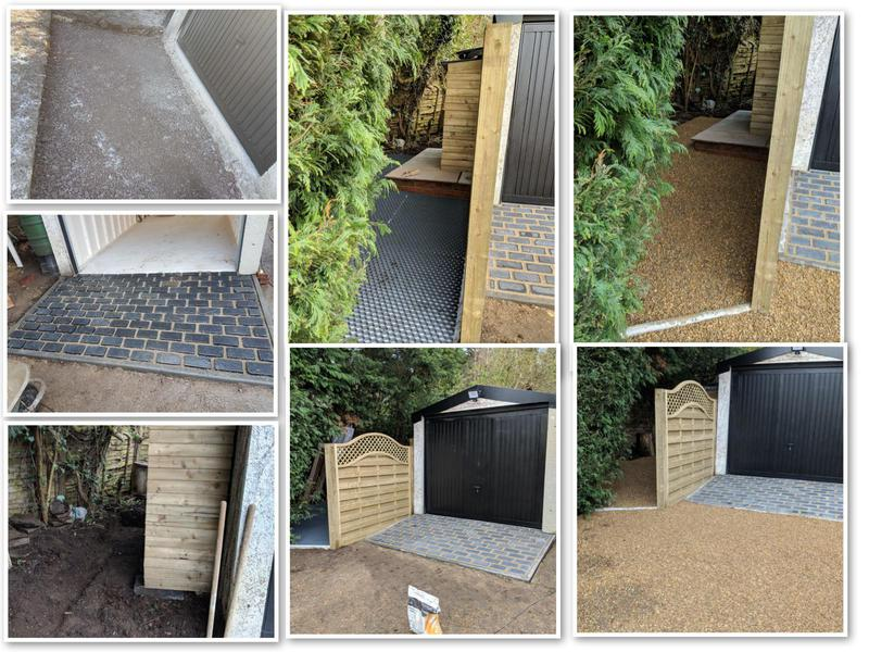 Image 3 - New garage entrance. Tidy up area. Gravel grid system with fence. Top up shingle all over drive