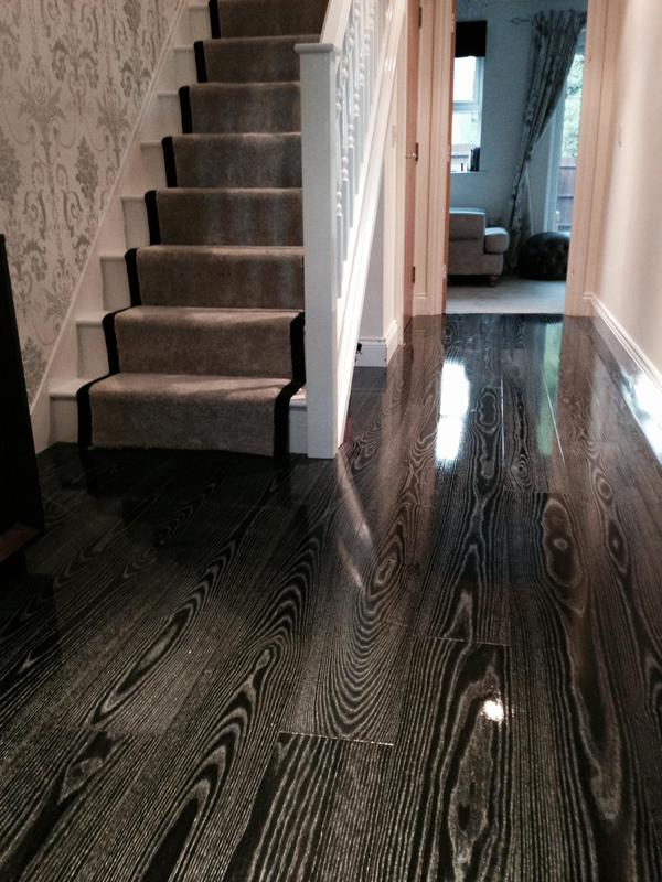 Image 8 - Kahrs Supreme Ash Black Silver Engineered Wood and Cormar Sensation Arctic Grey Stair Runner