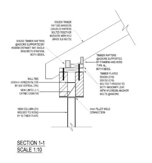 Image 8 - Roof end restraint details. Lintel. Rafter detail. South London.