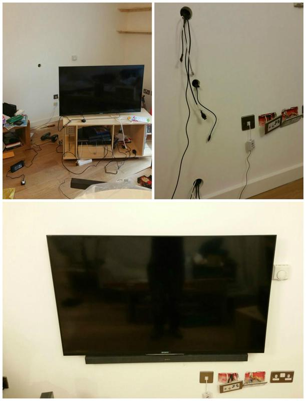 Image 89 - Wall mounted TV installed with hidden wiring.