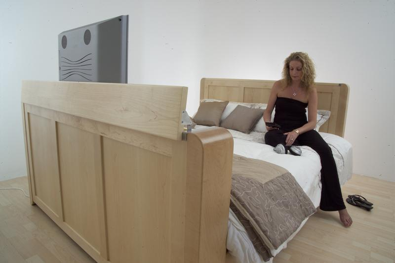 Image 48 - Bespoke Maple bed with automated tv lift .