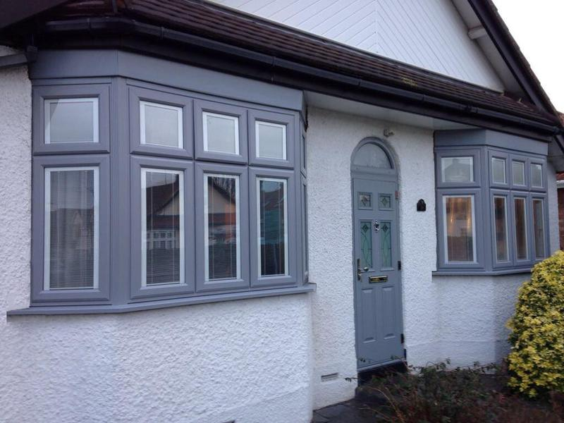 Image 37 - Hornchurch-Light grey bay windows with integrated blinds