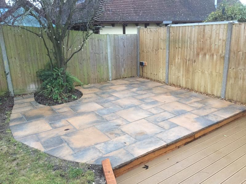 Image 20 - New patio in Marshalls Fired Stone slabs, resin pointed and sealed to lock in the colour and prevent greening