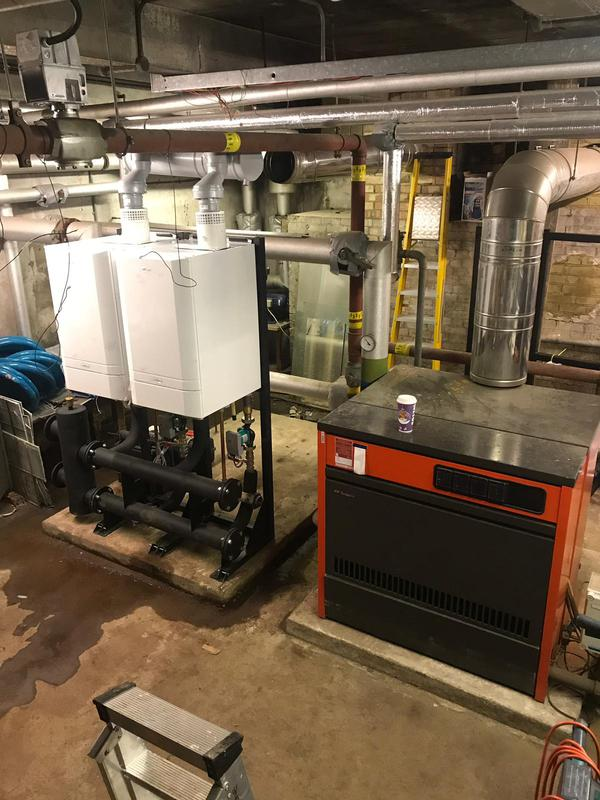 Image 1 - The New and Old.  Commercial Boiler Room