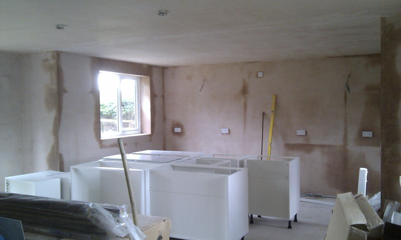 Image 2 - the Kitchen extension, built and plastered, June 2011