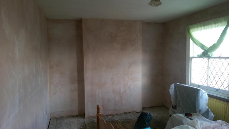 Image 59 - Bedroom walls plastered in Battersea, SW London. Walls under plaster needed to be rendered first and then allowed to dry before plastering. Finish came out very well and was ready for decoration in a few days.