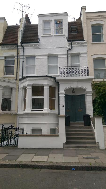 Image 53 - Exterior decoration and repair of a front of house. All levels and sub basement painted. All masonry and woodwork painted. Railings also repaired and painted. Client was happy with our finish and invited us back to carry out more work for her.