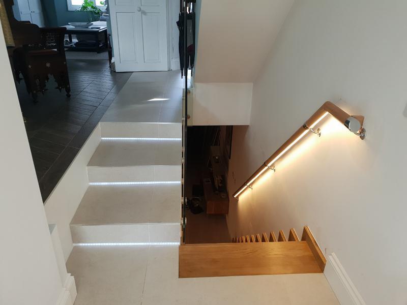 Image 76 - Tiling, wooden steps installation, led installation.