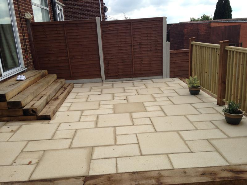 Image 34 - Terraced Patio in Bradstone Textured Paving , Sleeper Step Feature in Luton
