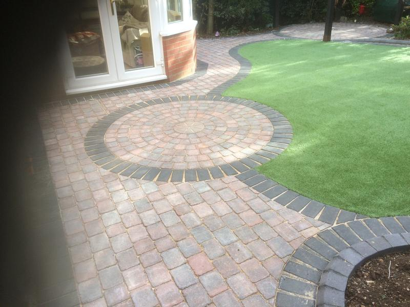 Image 20 - Tegula Drivesett patio with artificial grass
