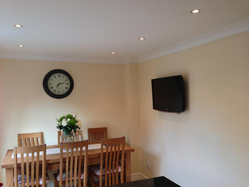 Image 20 - Downlights and TV fitted in dining room.