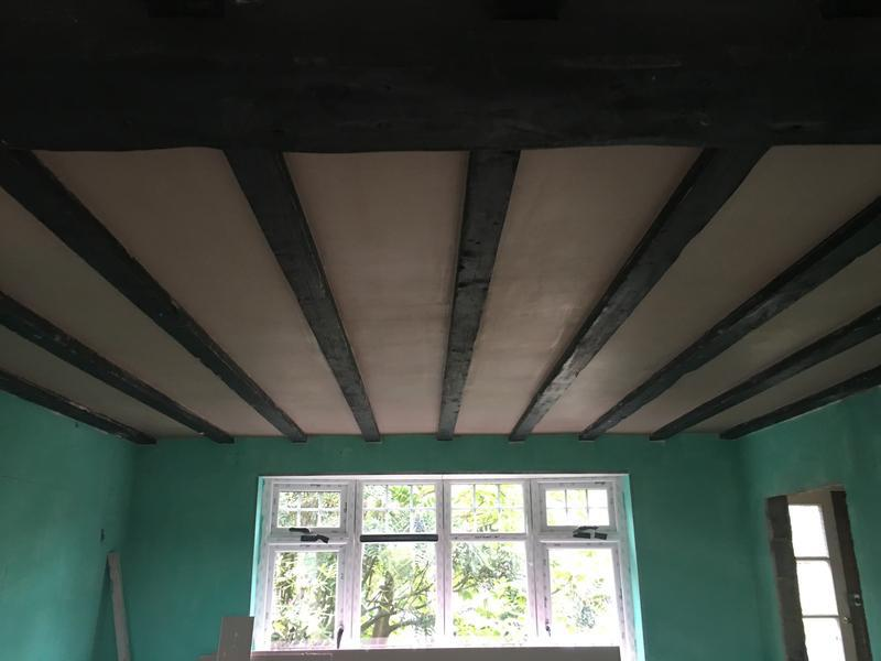Image 21 - Ceiling boarded and skimmed  keeping beams