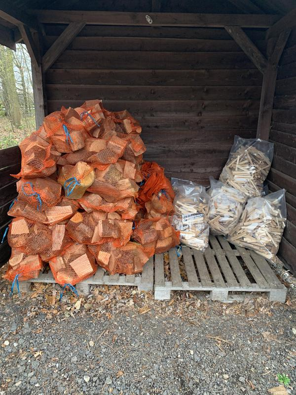 Image 1 - Net bags of logs £4 and large bags of kindling £10 available to collect from our premises ...cash or card payment accepted