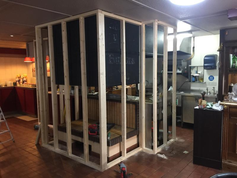 Image 32 - new stud partition to the kitchen area in the campanile resturant - pic 1