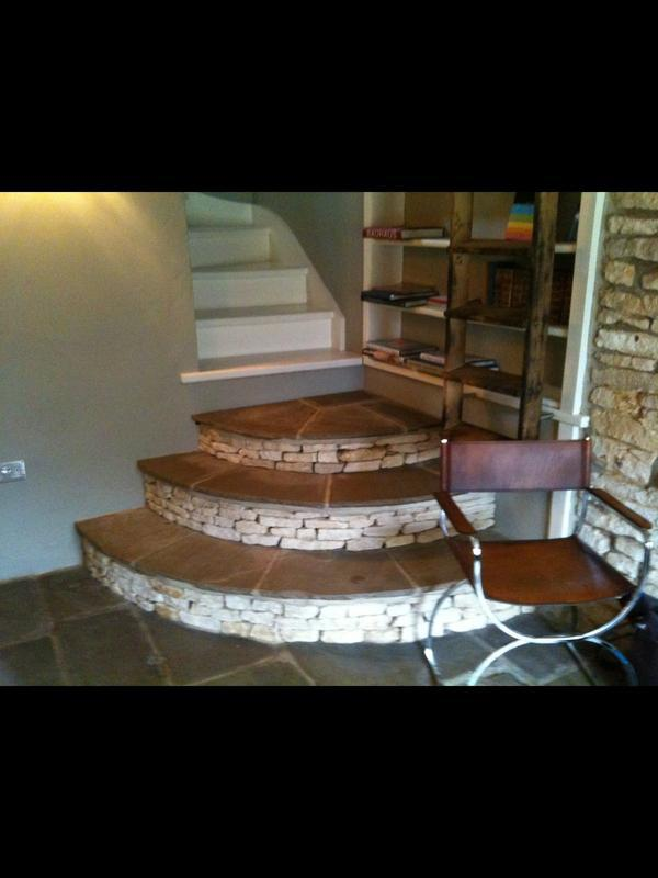 Image 52 - Stone and oak custom built stairway