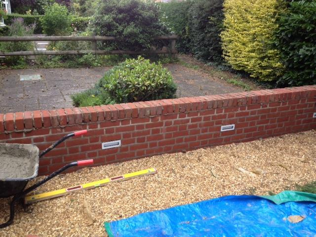 Image 93 - New garden wall with brick lights
