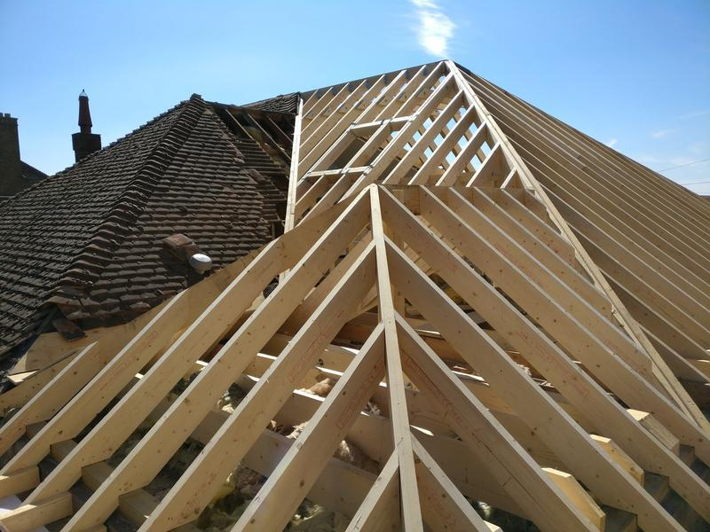 Image 128 - picture of the detail involved in the hand cut roof rafters to construct the hip ends , box valley gutter and velux trim out
