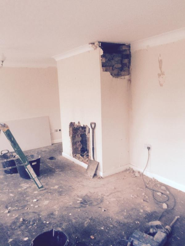 Image 82 - taking down existing chimney breast to make room in living room