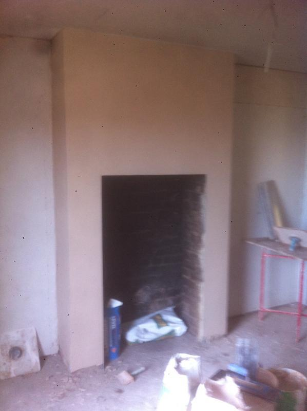 Image 38 - Chimney breast completed in lime lite renovation plaster