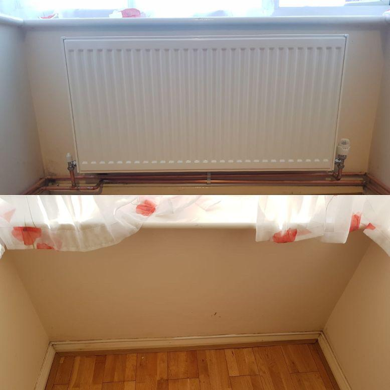 Image 6 - Before & after picture of an additional radiator installation.  The customer had a single small radiator in a large living area downstairs.  To say the customer was pleased with the end result was an understatement!
