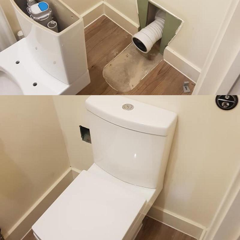 Image 14 - Before and after picture of a new toilet refit.
