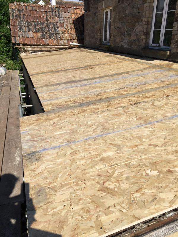 Image 6 - Flatroof removed and new Osb boarding ready for Grp fibreglass roof.
