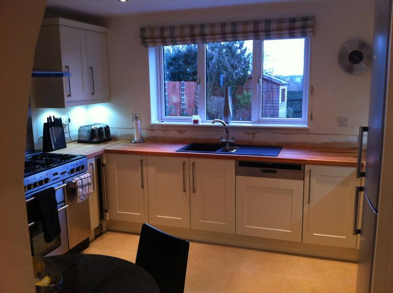 Image 28 - Country Beech worktops. Downlights in the ceiling. LED under Pelmet lights.