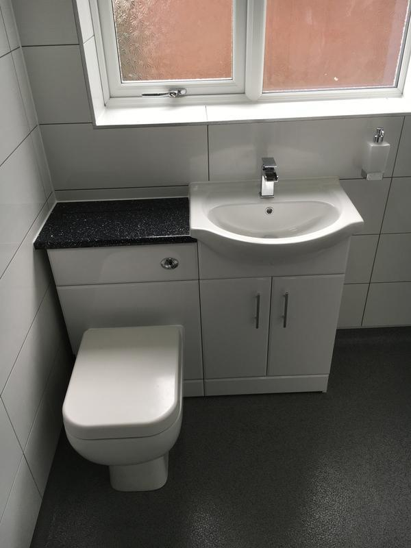 Image 21 - Concealed Cistern Toilet And Semi Recessed Basin Sat On Gloss White 2 Door Cabinet