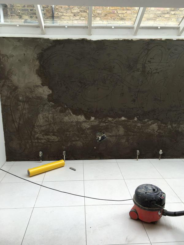 Image 11 - Residential Damp Proofing Works:                                            Waterproof render drying prior to skim finish
