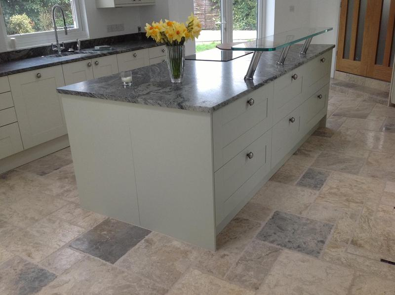 Image 43 - Shaker kitchen installed in new extension with granite worktops and high level glass breakfast bar.