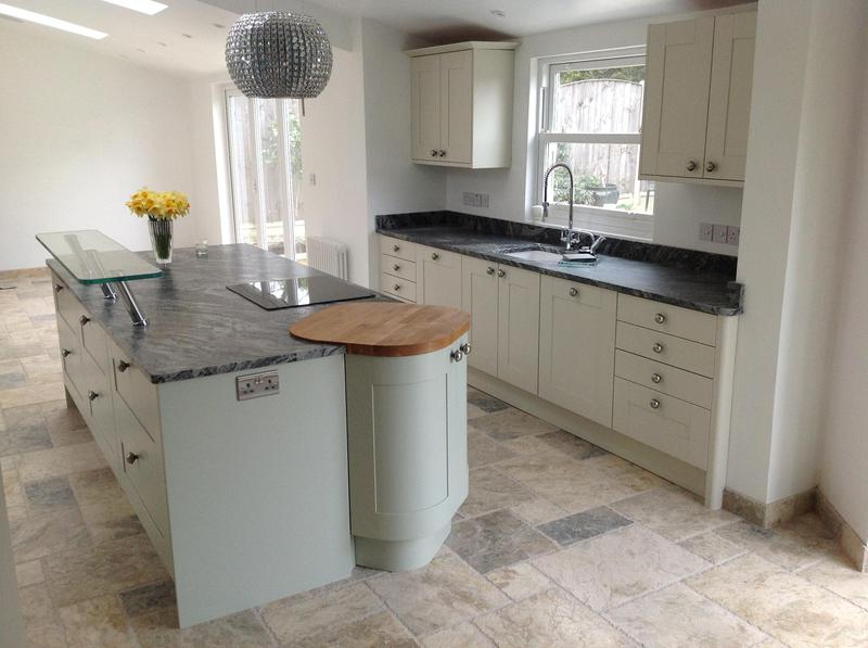 Image 44 - Shaker kitchen installed in new extension with granite worktops and high level glass breakfast bar.